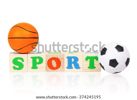 Sport word formed by colorful wooden alphabet blocks, isolated on white background  - stock photo