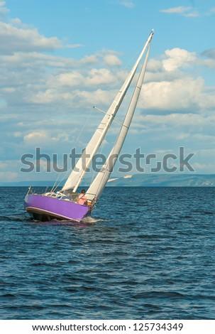 Sport yacht regatta on the sea - stock photo