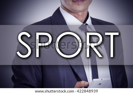 SPORT - Young businessman with text - business concept - horizontal image - stock photo
