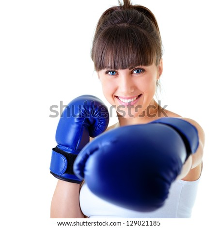 sport young woman happy smiling in boxing gloves, face of fitness girl studio shot over white background - stock photo