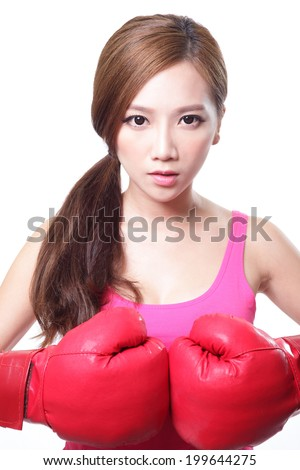 sport young woman with boxing gloves, face of fitness girl studio shot isolated over white background, asian beauty - stock photo