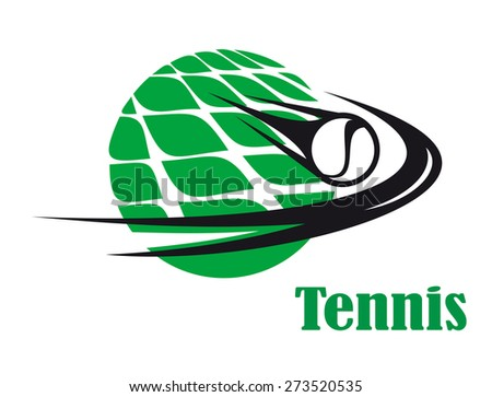 Sporting icon of a tennis ball speeding across a net on a green court for sports design