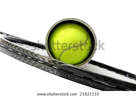 Sporting inventory. Tennis racket with balls.