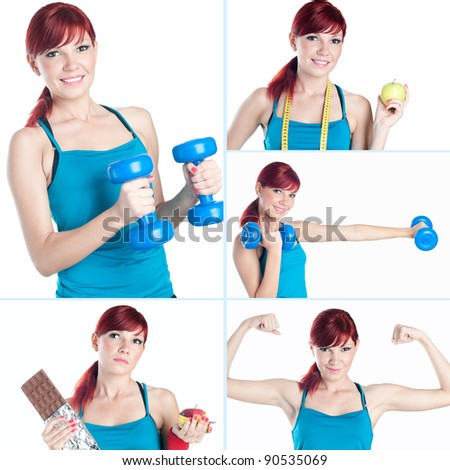 Sportive caucasian young woman exercising over a white background, collage - stock photo