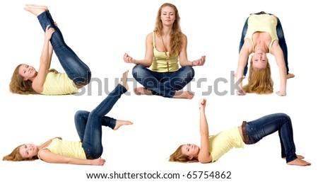 Sportive girl doing exercises - stock photo