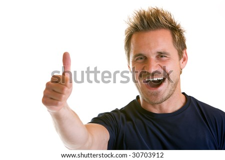 Sportive man express happiness (right thumb) - stock photo