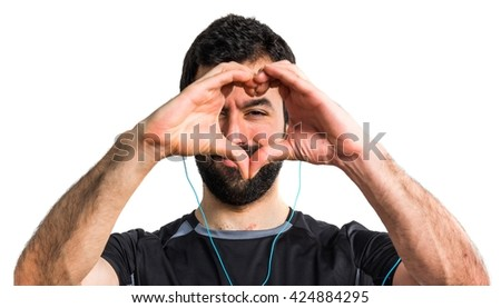 Sportman making a heart with his hands