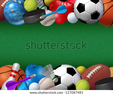 Sports and activities border with equipment from basketball boxing golf bowling tennis badminton football soccer darts ice hockey and baseball as a fitness and health element on a green background. - stock photo