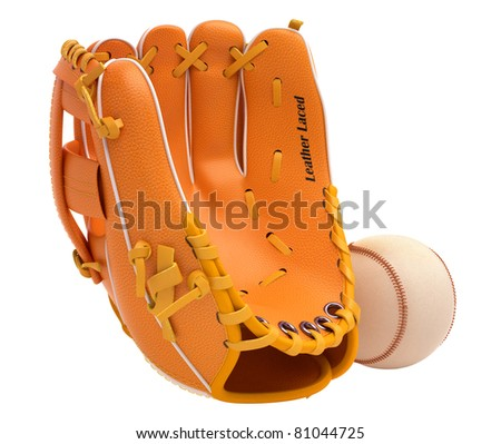 Sports and leisure: baseball glove and ball isolated over white background