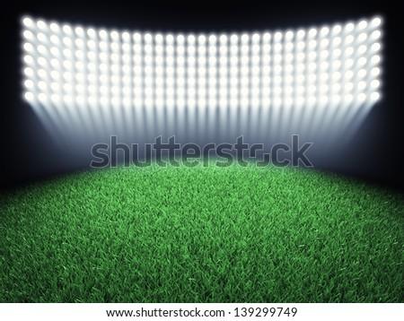 Sports arena spotlights and turf , 3d illustration - stock photo