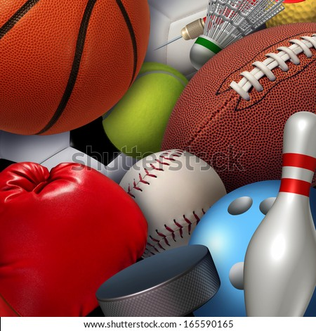 Sports background concept with a group of athletic equipment as a football basketball baseball soccer tennis golf ball and badminton hockey puck as leisure fun activities for an active healthy life. - stock photo