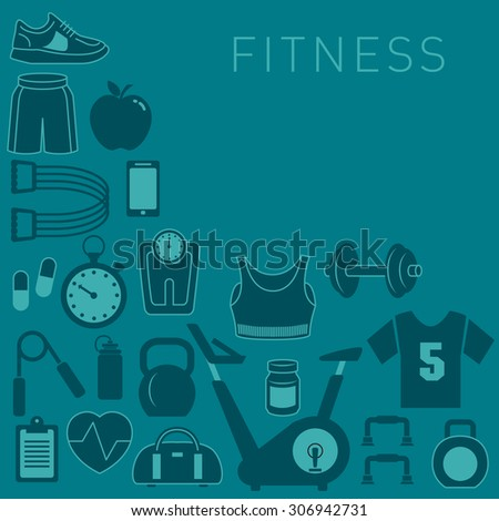Sports Background with Fitness Icons - stock photo