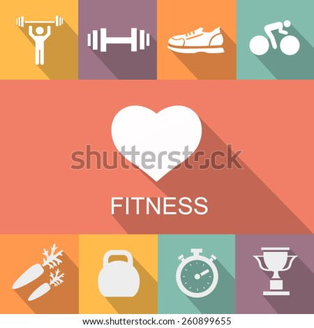 Sports background with fitness icons  in flat  style - stock photo