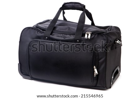 Sports bag isolated on white - stock photo
