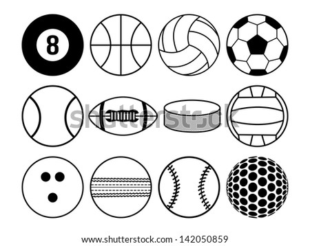 sports balls black and white - stock photo
