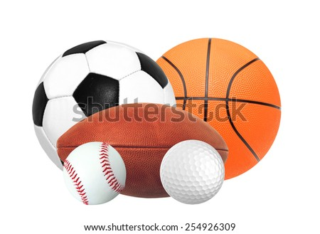 Sports balls isolated on white background - stock photo
