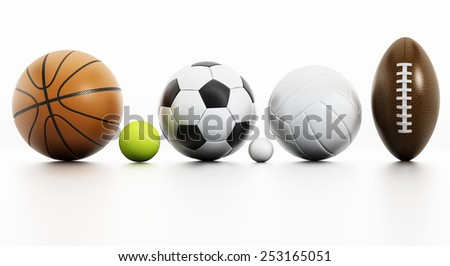Sports balls isolated on white background with reflection