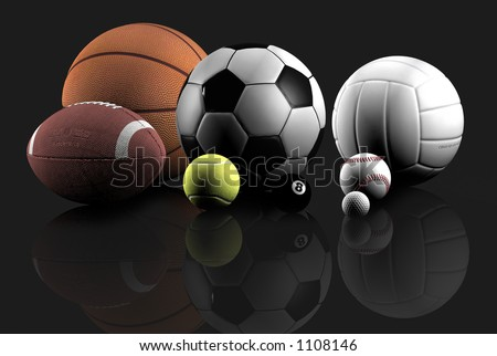 sports balls over a grey background - stock photo
