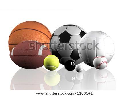 sports balls over a white background - stock photo