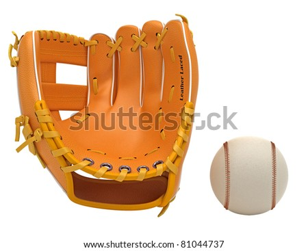 Sports: baseball glove and ball isolated over white background