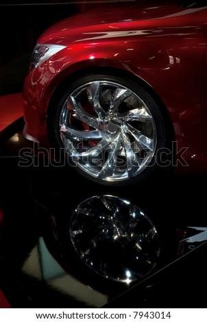 sports car alloy wheel - stock photo
