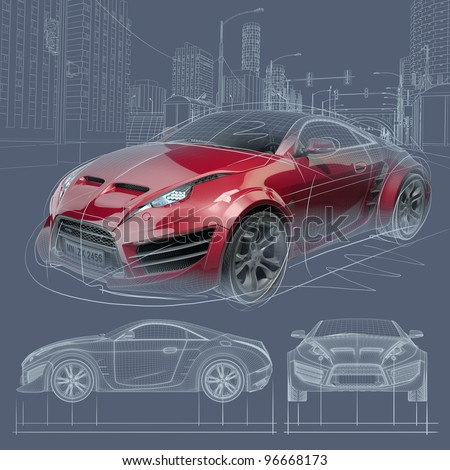 Sports car blueprint. Original car design. - stock photo