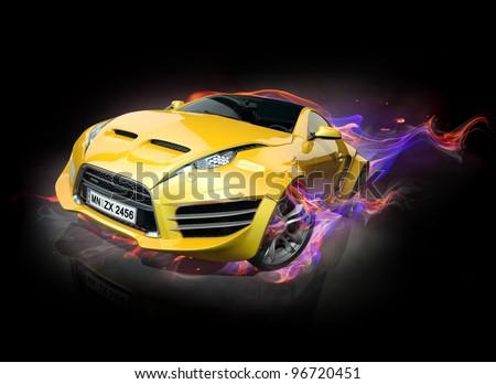 Sports car burnout - stock photo