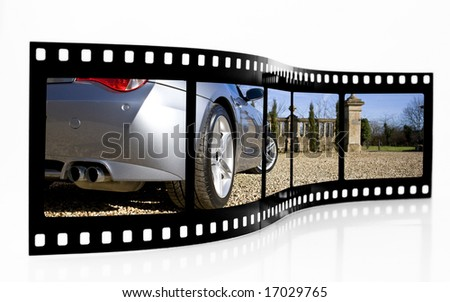 Sports Car Film Strip - stock photo
