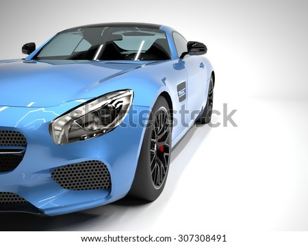 Sports car front view. The image of a sports blue car on a white background - stock photo