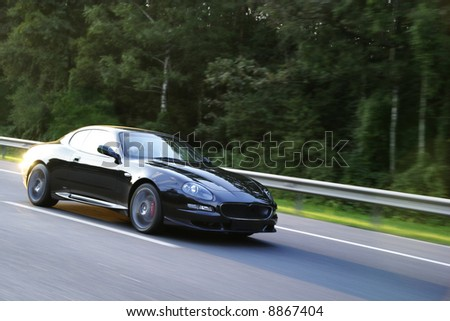 sports car in motion