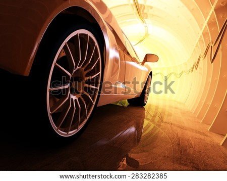 Sports car in the tunnel. - stock photo