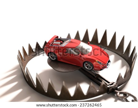 Sports car into a bear trap. Risk concept in high value financing. - stock photo