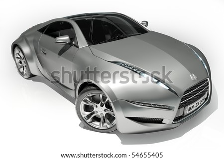 Sports car isolated on white background. My own car design. Logo on the car is fictitious. - stock photo