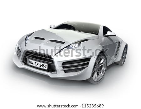 Sports car isolated on white background. Non-branded concept car. - stock photo