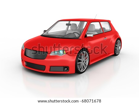 Sports car isolated on white. This is a detailed 3D render. - stock photo