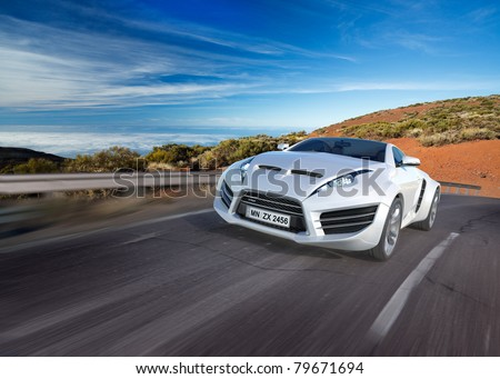 Sports car moving on the road. Non-branded concept car. - stock photo