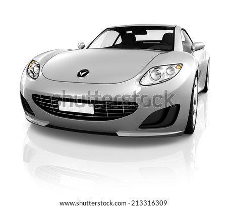 Sports car on a white background. - stock photo