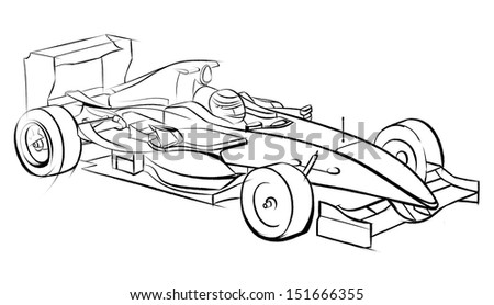 Sports car racing, drawn by hand. Pencil drawing, graphic technique. Competitions race. Black smooth lines on a white background - stock photo