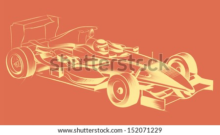 Sports car racing, drawn by hand. Pencil drawing, graphic technique. Competitions race. Yellow smooth lines on a orange background - stock photo