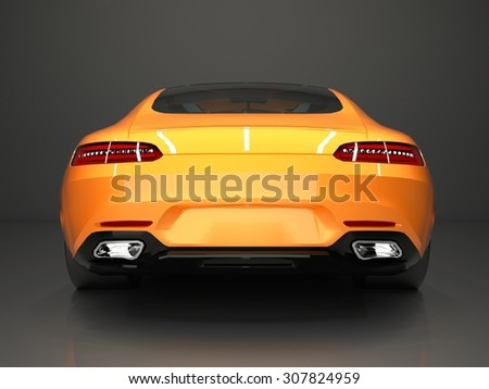 Sports car rear view. The image of a sports gold car on a gray background - stock photo