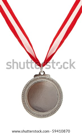 sports concept with silver medal on white - stock photo