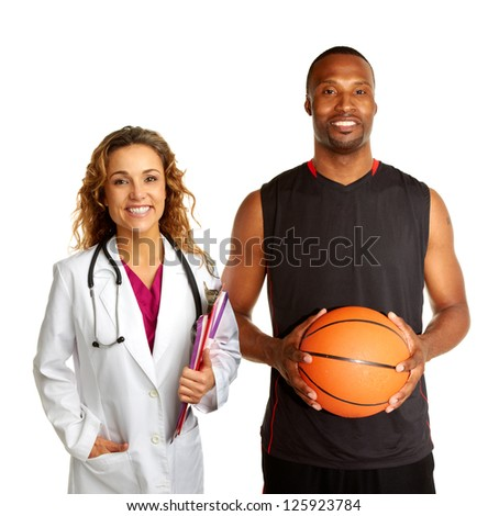 Sports Doctor Basketball Player Isolated On Stock Photo (Royalty ...