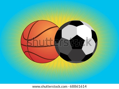 Sports equipment. Balls for soccer and basketball