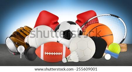 sports equipment blue background - stock photo