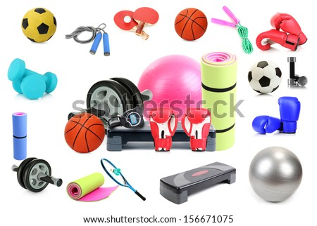 Sports equipment collage isolated on white - stock photo