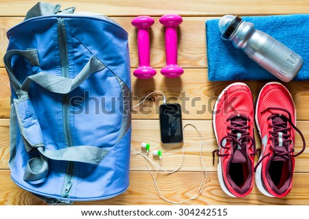 sports equipment is ready to use a top view - stock photo
