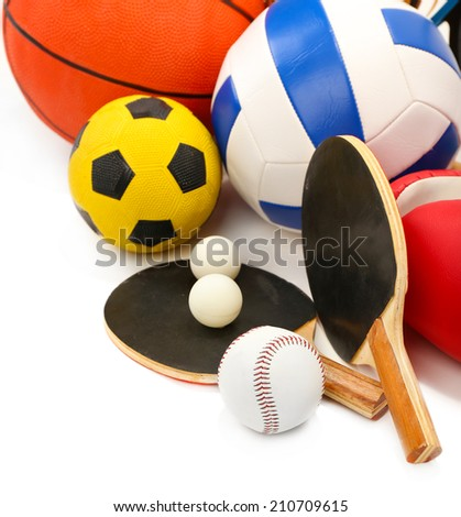 Sports equipment isolated on white - stock photo