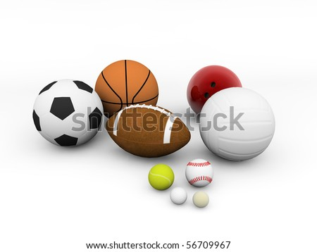 sports equipment isolated on white background  - stock photo