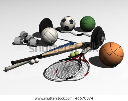 Sports equipment on a white background - stock photo