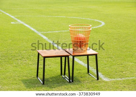 sports equipment on grass - stock photo